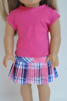 American Girl Doll Clothes PInk and Blue Plaid by CircleCSewing