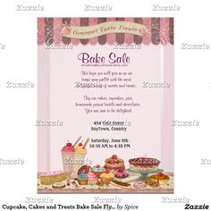 bake sale ideas Fun design for all the talented cooks out there. Perfect for a patisserie, bakery and other sweet treat businesses too. This Bake Sale flyer features a delicious display Bake Sale Flyer, Bake Sale Poster, Homemade Peanut Brittle, Bake Sale Treats, Buckwheat Cake, Custom Flyers, Cake Shop, Fun Cookies, Savoury Cake