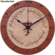 60th Anniversary Lord of the Rings Wood Clock, inpired by the J. R. R. Tolkien books