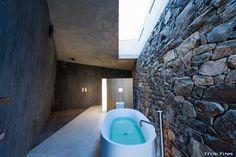 Annandale Seascape Cottage, A Gorgeous Retreat In New Zealand Master Bathroom Shower, Modern Bathroom, Metal Building Homes, Building A House, Bathroom Decor Pictures, Bathroom Ideas, Walk In Bathtub, Real Estate Sales, Metal Buildings