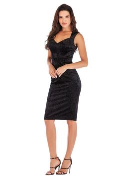 Black Sleeveless Velvet Midi Cocktail Party Dresses Sizes Available: M, L Material: Polyester Neckline: V-Neck Sleeve Length: Sleeveless Dress Length: Knee-Length Black Velvet Dress, Velvet Dresses, Dress Black, Curvy Dress, Black Cocktail Dress, Evening Gowns, Formal Dresses, Party Dresses, Chiffon