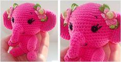 Pretty Pinky Crocheted Elephant [FREE Crochet Pattern]