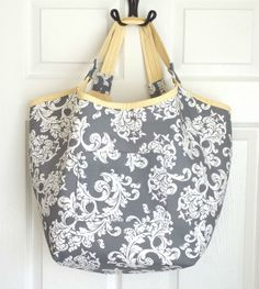 Grey and White Damask Oversized Tote Beach Tote by EmeraldLilyCS, $38.00