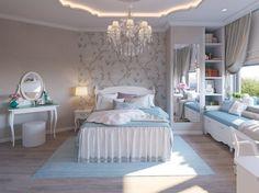 Классический интерьер спальни для девушки