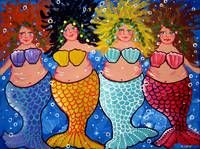 """""""Chubby Mermaids"""" by Renie Britenbucher: Four chubby and colorful Mermaids // Buy prints, posters, canvas and framed wall art directly from thousands of independent working artists at Imagekind.com."""