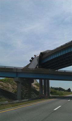 A tractor-trailer hangs on the guard rail of I-81 south bound - June 14, 2012 (Gustoman1 via CBS 21 mobile app)