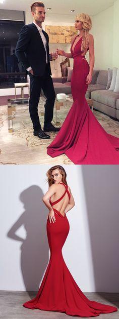 Sexy Prom Dress,Red Evening Dress,Mermaid Prom Dress,Long Prom Dress, Formal Evening Dress,Criss Cross Back Prom Dress,Woman Evening Dress