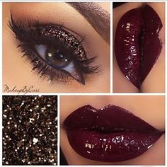 Officially want burgundy lipstick, with gold glitter sparkle eyeshadow Eyebrow Makeup Tips Kiss Makeup, Cute Makeup, Gorgeous Makeup, Pretty Makeup, Amazing Makeup, Makeup Goals, Makeup Tips, Beauty Makeup, Makeup Ideas