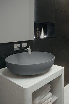 MIENA round, design by Anke Salomon. A single wall of steel enamelled in an exquisite matt tone. Glass Bathroom Sink, Bathroom Sink Cabinets, Washroom, Classic Bathroom, Modern Bathroom Design, Bathroom Interior Design, Attic Bedroom Designs, Washbasin Design, Toilet Sink