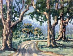 """Trees Down the Road"" - Original Fine Art for Sale - © Linda Blondheim"