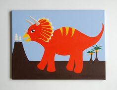 This is my original painting of a Triceratops, most famous for those three distinctive horns on his head. This prehistoric giant would make a great addition to any dinosaur nursery, little boys dinosaur bedroom or childs playroom.  This colourful design is hand-drawn and painted in good quality acrylics, on a double-primed, stretched, 100% cotton canvas. The canvas measures 16 x 12 x 0.6 (41 x 31 x 1.5cm). The picture wraps around the edges of the canvas, which gives a great 3 dimensional… Boys Dinosaur Bedroom, Dinosaur Nursery, Nursery Paintings, Nursery Art, Dinosaur Hunter, Childrens Wall Art, Art Series, Prehistoric, Blue Backgrounds