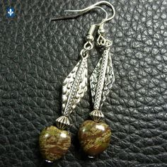 ♥ EASY SHIP TO USA UK CA AU EU Delicate Jasper Heart & Plated Silver Earrings  | eBay