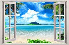 Exotic Beach View 3D Window Decal WALL STICKER Home Decor Art Wallpaper Mural Giant C029 *** Click on the image for additional details.