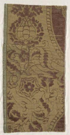 Fragments of Velvet Brocade, 16th century Spain, 16th century brocaded silk velvet, Overall - h:54.30 w:26.50 cm (h:21 3/8 w:10 3/8 inches). Dudley P. Allen Fund 1918.911