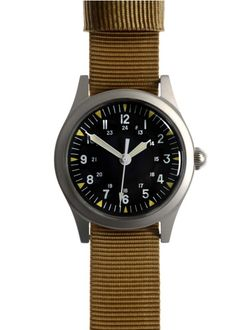 I don't really like watches much, so I suffice with this relatively plain A-11 Vietnam-era watch from Military Watch Company.