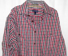 LANDS END Plaid Shirt Men Sz L (16-16 1/2) Red Black Button Up Adjust Slv NWOT   #LandsEnd #ButtonFront
