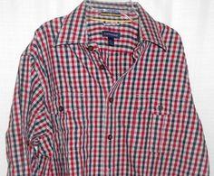 LANDS END Shirt Plaid Red Black Men Sz L (16-16 1/2) LumberJack Button Up    #LandsEnd #ButtonFront