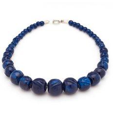 Splendette Carved Navy Blue Fakelite Bead Necklace