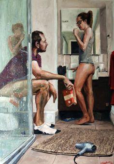 "Saatchi Art Artist James Needham; Painting, ""Lovers"" #art"