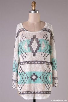 Long sleeve Aztec print knit tunic Polyester Spandex Made in USA Tribal Print Cardigan, Womens Trendy Tops, Dressy Tops, Long Sleeve Tunic, Sweater Shirt, Cardigans For Women, Aztec, What To Wear, Fashion Looks