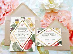 Geometric Floral Wedding Invitations - Flower Wedding - Botanical Wedding - Spring Wedding - Nature Wedding - Garden Wedding