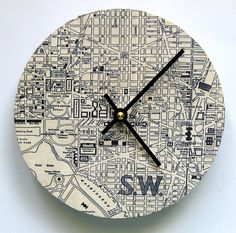 Custommade  Map Wall Clock.  Personalized small wall by paperannie, $38.00 would make this myself but still like it. wall clock wall