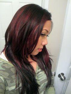 Black hair with dark red highlights underneath