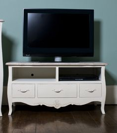 Cream wood TV television DVD cabinet shabby french chic storage lounge stand