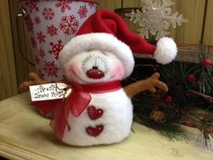 "Primitive Raggedy Christmas Snowman Doll Winter Snow Shelf Sitter 6.5"" #Unbranded #Christmas"