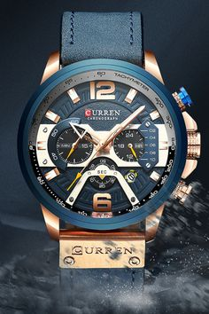 This Acerot Fashion Blue Men's Watch combines a sporty and casual look, a tremendous case and dial design, with a stylish leather strap make this watch the best choice.