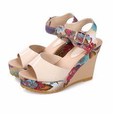 776d52f11f4 Floral Colorful Buckle Fish Mouth Platform Sandals Floral High Heels