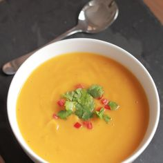 Sweet Potato, Garlic And Chilli Soup Recipe Soups with cooking spray, onions, garlic cloves, red chili peppers, sweet potatoes, vegetable stock, salt, pepper, chopped parsley, red chili peppers