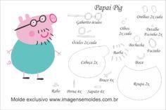 Molde Peppa Pig - Papai Pig - Molde para Feltro - EVA e Artesanato, Molde Peppa Pig - Papai Pig - Molde para EVA - Feltro e Artesanato Molde Peppa Pig, Peppa Pig Doll, Peppa E George, Felt Puppets, Felt Kids, Felt Animal Patterns, Baby Quiet Book, Pig Party, Felt Dolls