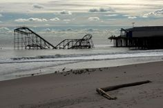 The roller coaster at the Casino Pier in Seaside Heights, NJ on Thursday. The boardwalk was destroyed by Hurricane Sandy.