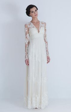 ​Lia Wedding - Catherine Deane  Antique french lace inspired embroidered silk tulle dress with long sleeve.