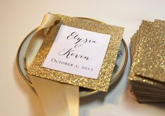 Gold Wedding Favor Tags / Gold Monogram Tags by PinkOrchidInvites