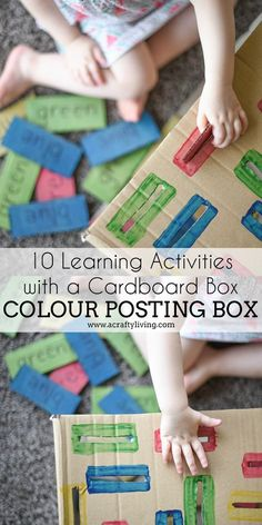 18m 10 Learning Activities with a Cardboard Box - COLOUR POSTING BOX for Toddlers & Preschoolers! www.acraftyliving.com