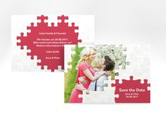 "Save the Date-Karte Hochzeit ""Puzzle"" A6 Karte rot"