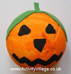 Polystyrene pumpkin craft for kids