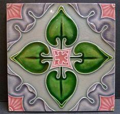 Antique English Art Nouveau Ceramic Tile