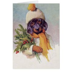 Vintage Dachshund at Christmas (Blank Inside) Card - Xmascards ChristmasEve Christmas Eve Christmas merry xmas family holy kids gifts holidays Santa cards Vintage Dachshund, Dachshund Art, Vintage Dog, Vintage Modern, Daschund, Vintage Winter, Vintage Gifts, Vintage Christmas Cards, Christmas Art