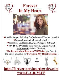 Purchase some amazing jewelry and select the Farm Animal Rescue of Mifflinburg as your sanctuary of choice and Mira will generously donate 40% of the proceeds to our non-profit rescue. For more information visit wwww.F-A-R-M.US and www.foreverinmyheartjewelry.com.