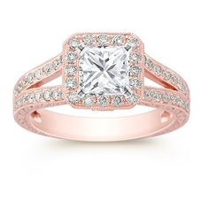 Halo Diamond Rose Gold Engagement Ring with Pave Setting from the Luxe Collection at Shane Co. This vintage halo engagement ring is shown with a princess cut diamond. Available with your choice of ruby, diamond or sapphire center stone.