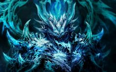 dark fantasy demon satan angel monster creature 3d magic horns blue art evil wallpaper background