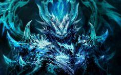 dark fantasy demon satan angel monster creature 3d magic horns blue art evil wallpaper background