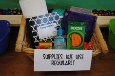 """Set this basket out at """"Meet your Teacher"""" night for parents to see all the supplies from our supply list."""