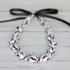 "Teething Necklace - Mini Mustaches - The Vintage Honey Shop ""I Mustache You A Question"""