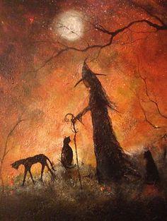 $48 Original OOAK Painting Witch Cat Girl Halloween Gothic Folk Art Terri Foss