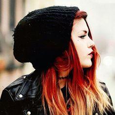 Luanna Perez. Red hair. Beanie. Leather jacket♥