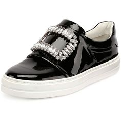 Roger Vivier Patent Strass Buckle Sneaker ($1,465) ❤ liked on Polyvore featuring shoes, sneakers, black, flat shoes, slip on sneakers, black patent leather flats, round toe flats and black patent sneakers
